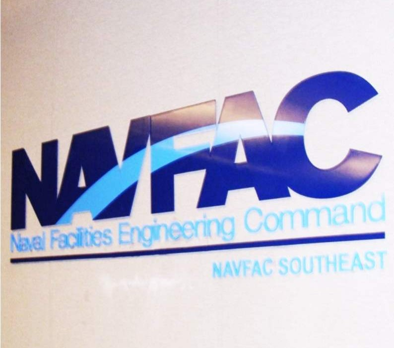 NAVFAC - Naval Facilities Engineering Command - Military Aluminum Laser Cut Letters