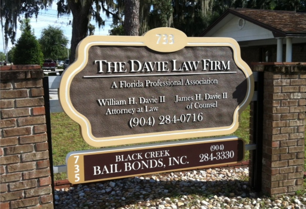 Sandblasted HDU Sign - The Davie Law Firm